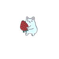 Japon tarzı sevimli karikatür beyaz kediler meyve çilek elma yaratıcı yağ damlası pim rozet broş kişiselleştirilmiş