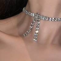 Find Me 2020 Fashion Rhinestone Choker Necklaces for Women Alloy Bowknot Necklace Jewelry Accessories