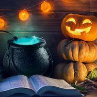 آلة الضباب إضاءة تغيير لون هالوين مصباح رذاذ شعبية الدعائم نموذج ساحرة وعاء اللهب الأسود تخطيط حوض الرعب جو المشهد