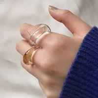 Korea Mode Transparante Acryl Twisted Band Ringen Designer Ringen voor Vrouwen Zomer Kleurrijke Vintage Hars Vinger Ring Party Sieraden Gift