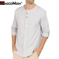 MagComsen мужская летняя повседневная рубашка хлопчатобумажная белье свободных рубашек человек мода твердый с длинным рукавом блузка Хенли рубашки пляжа йога топы