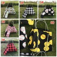 Neoprene sunflower plaid baseball handbag check printed storage bags fashion lady girl beach gym shoulder bags with small coin bag FFA4420A