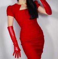 sexy di modo delle donne sottile 50 centimetri guanto di pelle partito convenzionale da prestazione del club finto pu guanto di cuoio della signora rosso lungo R1964