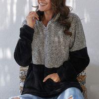 여자 후드 우아한 레오파드 Patchorkw 두꺼운 운동복의 경우 여성의 따뜻한 솜 지퍼 양털 여성 스웨터 겨울 코트