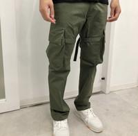 Army Green мужских брюки VUJADE штаны Карман лента Комбинезоны Брюки прямые Повседневная мода Фитнес High Street