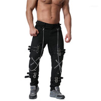 Rafraîchissez Casaul Vêtements adolescents Hiphop Streetwear Cargo Pantalons Designer Spring Mens chaîne punk rock métal vintage Pantalons mâles