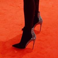 إمرأة ذات جودة عالية حمراء الأحذية أسفل حجر الراين جلدية من جلد الغزال والتصميم فتح سستة أحذية ولوكس مصمم إمرأة عال كعب bootie حذاء