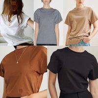 Manga curta gola Ladies Verão Tees Casual Blusas femininas Streetstyle Blogger Mulheres Camisetas Designer cor sólida