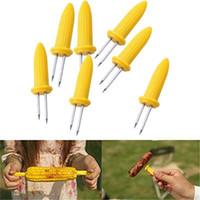 Aço inoxidável criativo milho Forks titulares Espiga de milho espetos de frutas Forks Ferramenta de churrasco ao ar livre