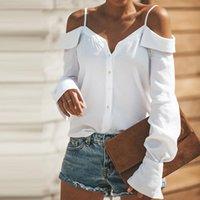 Slash collo Camicetta di estate delle donne di modo del manicotto camicia lunga 2020 nuovo sexy fuori dalla spalla solido di colore Top Female Camicie Ruffle Casual