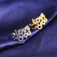 Anelli cluster NPKS Personalità creativa 925 sterling ring in argento sterling Lettera Amore Gold Gold Two Color Zirconia Regalo gioielli da donna