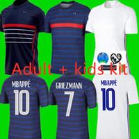 2020 FFF France Maillot de Foot Euro 2 étoiles Jersey Soccer Mbappe Giroud Grieuzmann Kante 20 21 Franc Zidane Henry Maillot de pied enfants