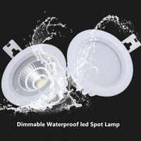 Kwadratowy / Okrągły Ściemniany LED COB Downlight IP65 Wbudowany Lampa Sufitowa LED Wodoodporna Punkt LED 10 W Kryty Łazienka Balkon Oprawa