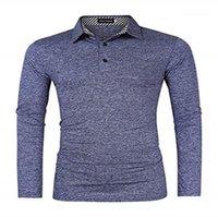 셔츠 가을 단색 긴 소매 옷 깃 목 남성 스포츠 남자 디자이너 의류 2,020 캐주얼 남성 폴로