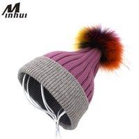 Beanie / Kafatası Kapaklar Minhui Gerçek Kürk Şapka Kadınlar Skullies Beanie Örme Gorro Pom Şapka Kızlar Kış Kap Bonnet Beanies