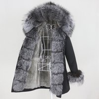 Kadın Kürk Faux OFTBUY 2021 Su Geçirmez Kış Ceket Kadınlar Uzun Parka Gerçek Ceket Doğal Rakun Yaka Hood Sıcak Streetwear
