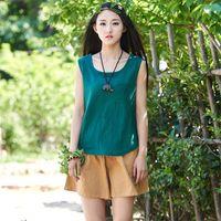Женская футболка Joilature 2021 Осенние Летние Без рукавовного хлопчатобумажного белья Сплошные мягкие повседневные винтажные верхние карманы