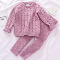 0-4 Yrs Girls Boys Suit Fall Baby Boys Girls Clothing Sets Winter knitting Pullover Sweater+Pants Infant Boys Knit Tracksuits LJ200916
