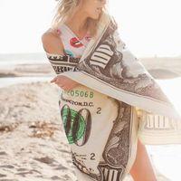 30 * 40cm Para 100 Dollar Bill Baskı Yüzme Hızlı Kuru Büyük Yumuşak Plaj Havlusu Taşınabilir Plaj Mat Battaniye Kapak Blanket