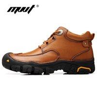 MVVT Plust Größe Männer Winterstiefel Super-Qualitäts-echtes Leder Stiefel Herren-Plattform-Knöchel Wasserdicht Winter Schnee