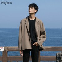 Men Solid Blazers Long Sleeve Single Breasted Loose Plus Size 3XL Korean Simple Casual Suit-top Fashion Retro Outwears Ins Chic