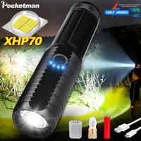 En parlak 4 Çekirdek XHP70 18650 veya 26650 el lambası T6 lanterna meşale usb şarj edilebilir taktik fenerleri açtı