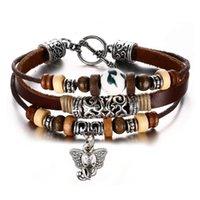Очаровательные браслеты шаблон старинные натуральные кожаные слон браслет для женщин прохладный стиль рука веревка цепь творческий дизайн браслеты ювелирные изделия
