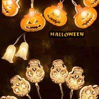 Lamba için Xmas parti dekor Toptan Asma Cadılar Bayramı Süslemeleri 1.5m 10 LED Işıklar Kabak Hayalet İskeletler Kafatası LED Işıklar