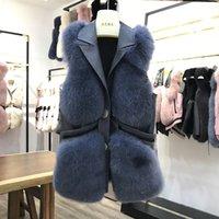 Mujeres Real Piel Chaleco invierno piel genuina chaleco de piel de longitud media moda gilet natural abrigos ruso chaleco real