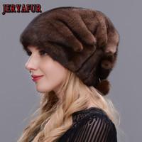 Beanie / черепные колпачки Jeryafur целые шапки для женщин зимняя элегантная принцесса меховые шапочки русский стиль теплый