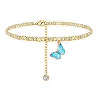 Butterfly Charm Anklet Chain Silver Gold Diamond Beach Cadenas de Pulsera Pulsera Mujer Moda Joyería Regalo Will y Sandy Drop Ship