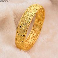 Annayoyo New Fashion lady Luxury Gold Color Jewelry Bangles Ethiopian African Women Dubai Bracelet Party wedding Gifts