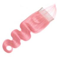 아기 헤어 표백 된 매듭 레미 인간의 머리카락 4 × 4 레이스 클로저와 핑크 컬러 바디 웨이브 레이스 폐쇄