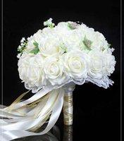 Buquê do casamento vintage Rosa / vermelho / branco / Borgonha nupcial da dama de honra Flor Artificial Flower Rose Bouquet noiva Buque de noiva