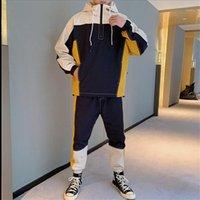 Пуловер куртка Спортивные костюмы цвета Щитовые Мужские дизайнерские костюмы толстовки карандаш брюки моды Mens 2PCS Set