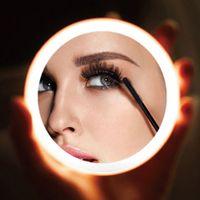 Nouveau maquillage Portable LED Mini circulaire Miroir cosmétique 3 Dimmable Luminosité Compact Miroir Voyage sans fil USB Charging