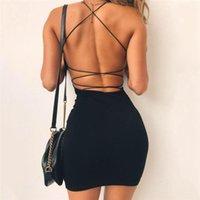 Seksi Siyah Yaz Giyim Kadınlar Katı Renk Backless Spagetti sapanlar Nightclub Elbise BODYCON Akşam Parti Düşük Boyun Mini Elbise