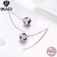 BISAER Flower Earrings 925 Sterling Silver Rose Flower Tulip Crystal Zircon Stud Earrings for Women Silver Jewelry ECE504 200921