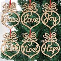 6 stks / pak Kerstbrief Hout Hart Bubble Patroon Ornament Kerstboom Decoraties Home Festival Ornamenten Opknoping Gift FY7173
