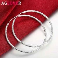Hoop Huggie Aglover 51mm 100% 925 Ayar Gümüş Büyük Buzlu Küpe Kadınlar Için Moda Takı Hediye Toptan