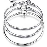 17-21 cm banhado a prata Cadeia de cobra elaboração de alta qualidade pulseira apto europeu encanto pulseira para mulheres diy jóias fazendo