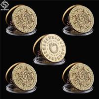 5 قطعة / الوحدة المكسيك مطلية بالذهب التقويم azetc الحرفية الثقافة تذكارية نسخة عملة المقتنيات