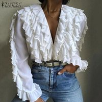 Fashion Elegant V Neck Long Sleeve Blouse Women Ruffles Shirt ZANZEA Spring Casual Flounce Solid Tops Female Work Blusas 5XL