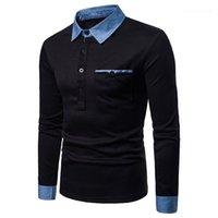 Vêtements pour hommes 2020 de luxe de col à manches longues Denim Polos Casual Mode T-shirt respirant Hauts pour hommes