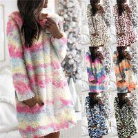 Womans Sherpa Fleece sudaderas con capucha de vestir felpa peludo sudaderas casual color blusas Tie-dye leopardo camuflaje Hairy la tapa del suéter D91401