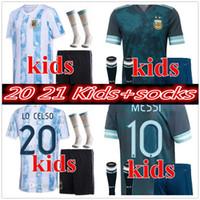 Copa América 2020 2021 Niño Argentina Fútbol Jersey Kits + Calcetines 20 21 Messi Dybala Maradona Agüero di Maria Higuain Camisetas de fútbol
