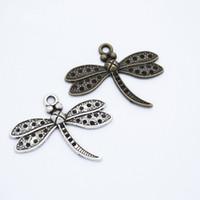 Bulk 200pcs Charms Dragonfly Pendentif Dragonfly Bijoux Antique Argent Bronze Antique Bronze Insective Charms DIY Bijoux Accessoires 34x29mm