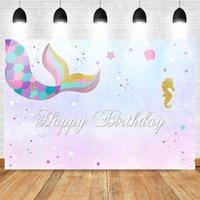 Material de fondo Sirena Teliado Fiesta de cumpleaños Po Gold Seahorse Azul y Púrpura Glitter Fondos de fondo Torta Banner Decoraciones