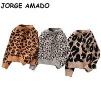 Baby Sweater leopardo malha de malha casual manga longa crianças camisolas bebê inverno bebê menina menino roupas ml001