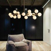 Moden Sanat kolye ışık altın / kara büyü fasulye ışık yemek odası dükkanı striplight cam kolye lamba armatürleri led